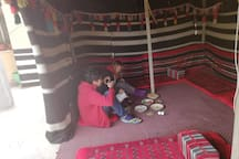 My guest taking the breakfast in bedouin tent.