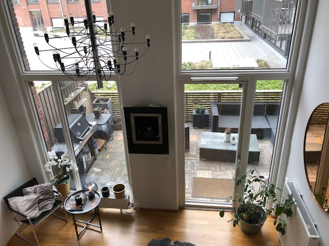 city apartment with big private terrace with grill