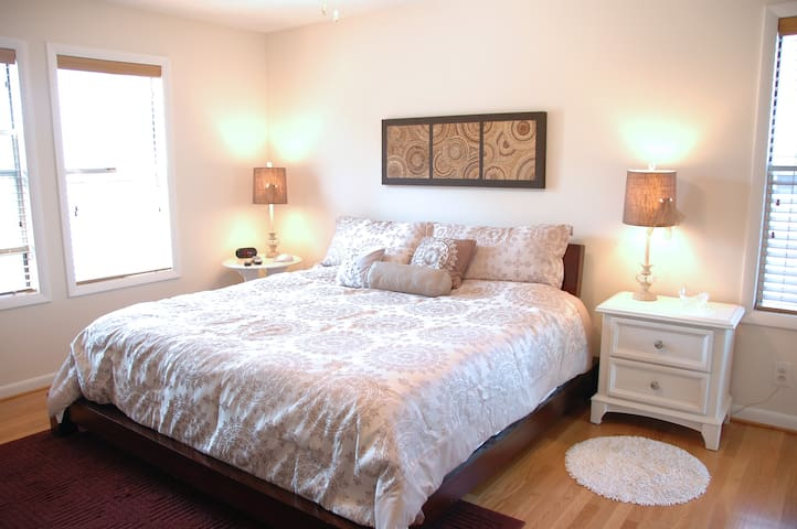Linen rental included! The luxurious king size bed has an HDTV and attached bathroom
