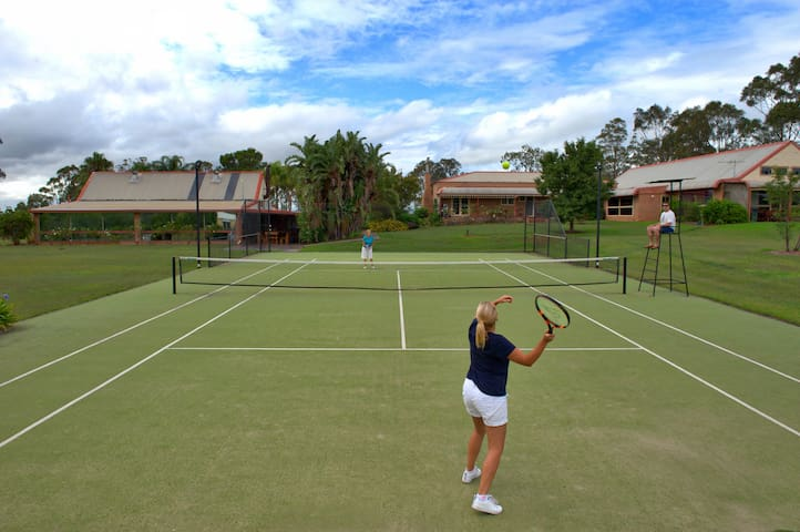 Tennis anyone?  Full size tennis court overlooking our vines and beautiful valley views