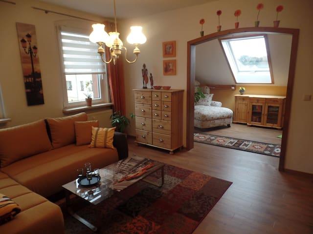 Gemütliche Dachgeschosswohnung mit tollem Ausblick - Wilkau-Haßlau - Apartament