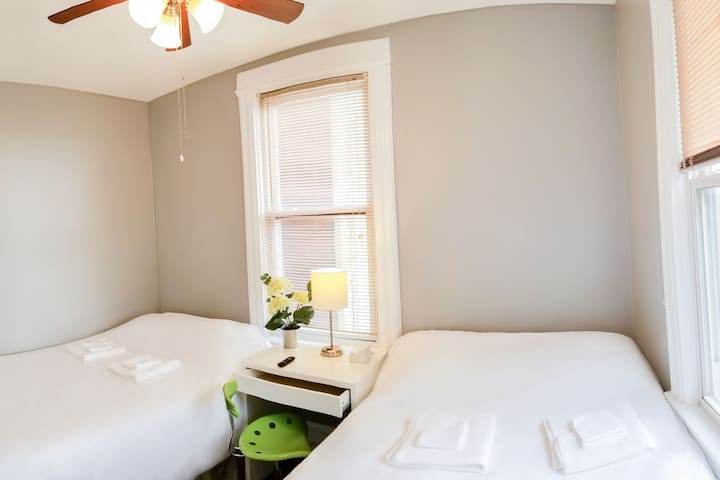 Bedroom accommodates up to 4 guests with 2 double beds furnished with luxurious gel memory foam mattresses