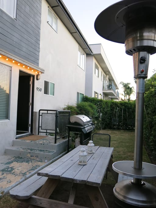 Outdoor table and heater