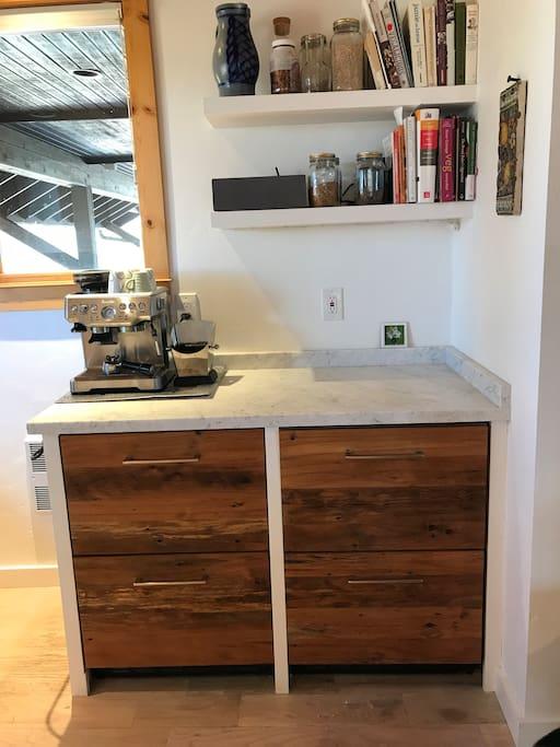 coffee bar with refrigerator