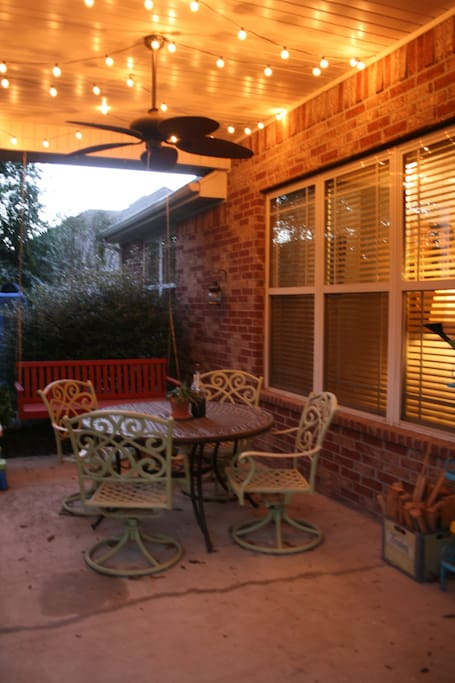 Great covered patio for cool evenings and grilling out! (propane grill included, but not pictured)