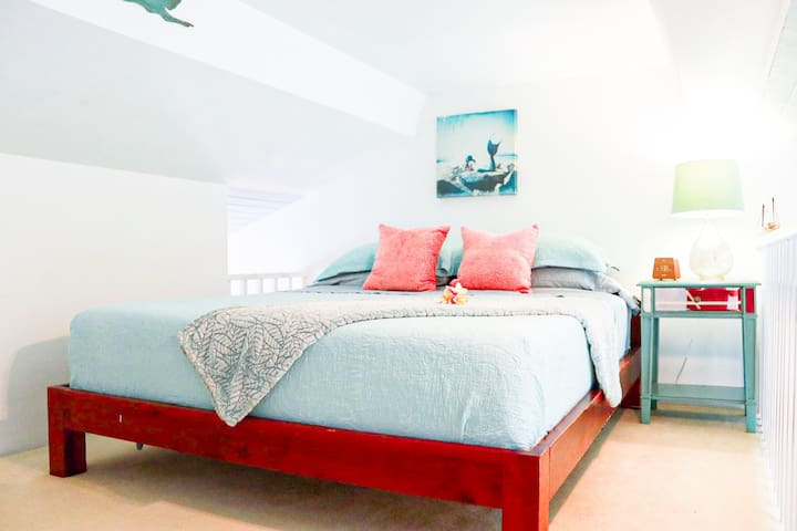 Looking forward to sleeping in on vacation? The cool air-conditioner, light-blocking curtains, and Cal king-sized bed will let you catch some extra zzz's!