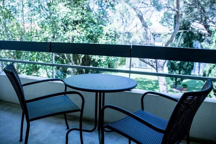 Appartement 1 chambre balcon ou terrasse et vue sur jardin