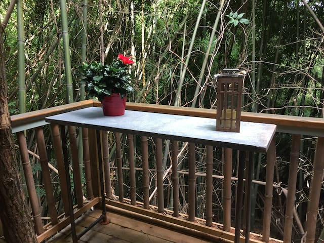 Soapstone porch table we made with plumbing parts. The soapstone is reclaimed science lab stone counter top from Colgate Univ. from NY.