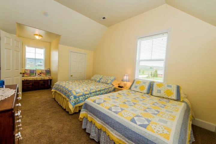 A large bedroom upstairs has two queen beds and two closets.