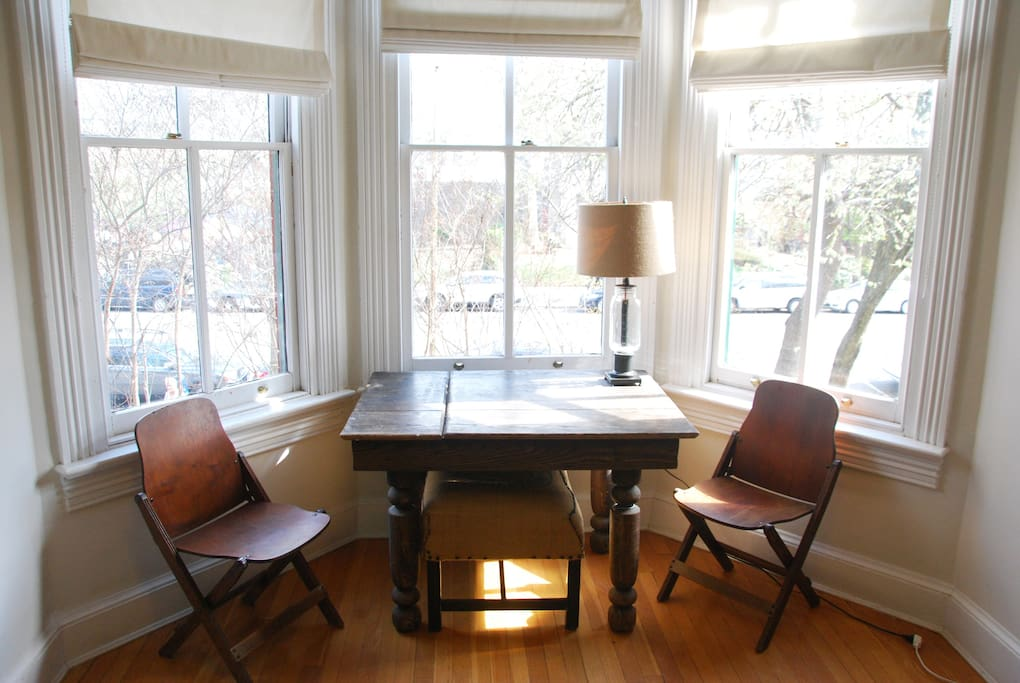 Cozy bay window with views of Eastern Market makes a great work area