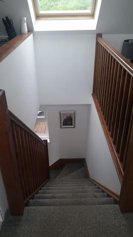 Stairs from entry to loft