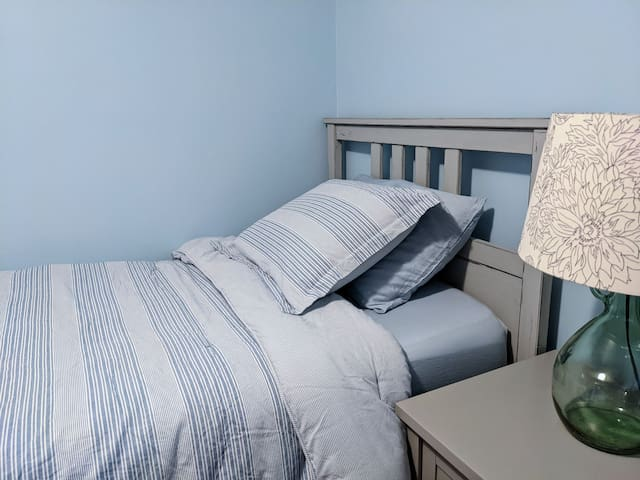 Blue room: the bed.