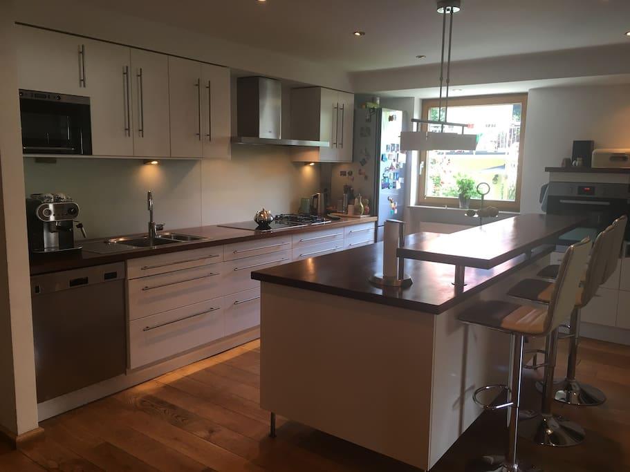 Big gourmet kitchen with oven, professional steamer, microwave, dishwasher, espresso machine