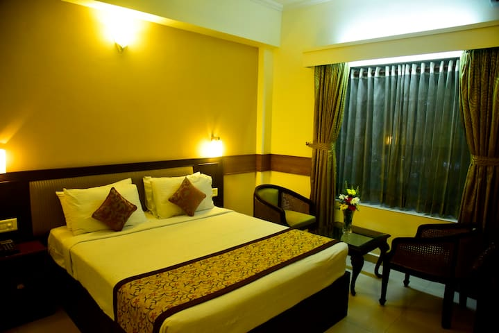 Double bed room with attached bathroom, TV, Ac