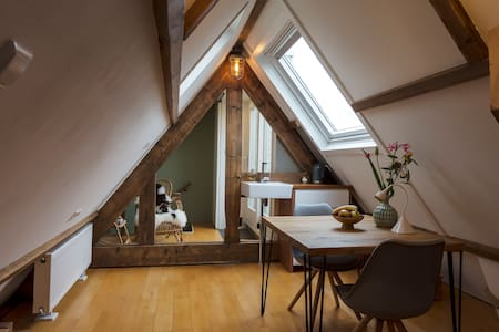 Attic room with a private roofterrace