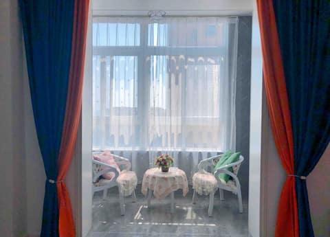 甜小宅【星晴】轻奢榻榻米55寸私人影院房/近步行街/富园广场/花园口国际广场