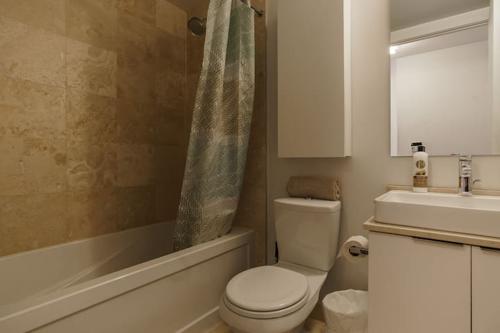 Bathroom with fresh towels , hair dryer , shampoo , conditioner , body wash and soap to make you comfortable during your stay