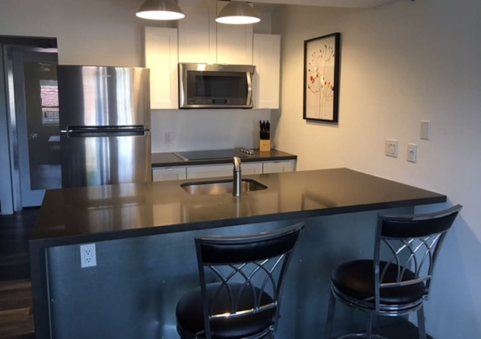 Kitchen, all new stainless steel appliances, quartz counters