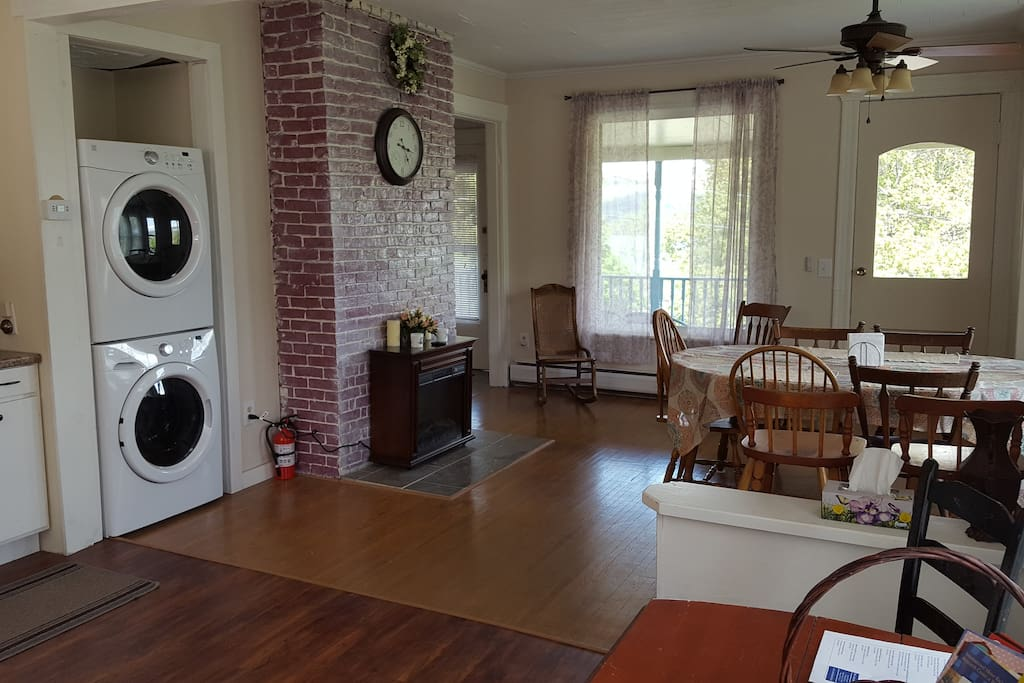 Dinning Room, fireplace, washer & dryer