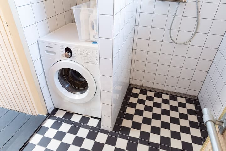You can use our washing machine and detergent whenever you want. When we have guests on our top floor they may use it too, but we will discuss this first!