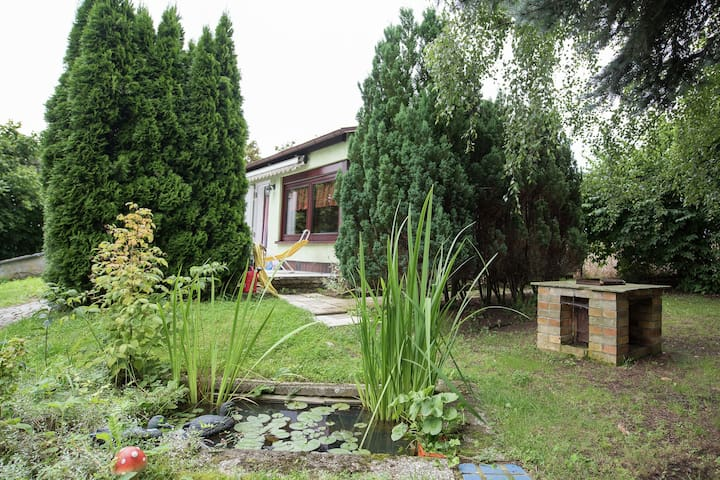 Detached holiday home in the Vogtland with furnace and terrace on a large plot of land