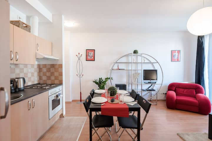 Bright and homey A/C apartment near the center