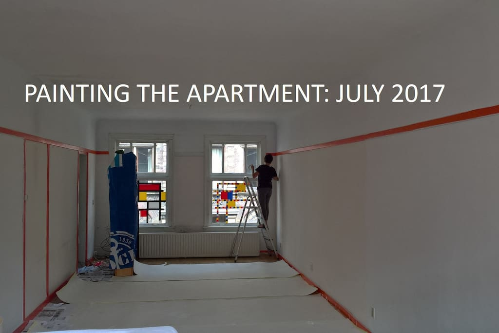 We painted the walls and living room of our apartment in July 2017