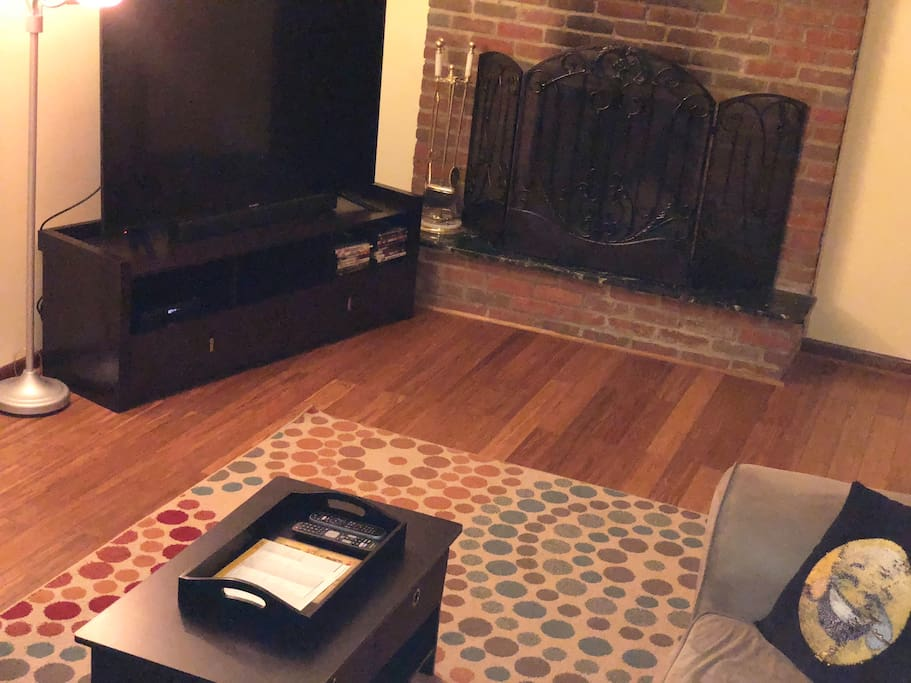 The cozy fireplace lets you enjoy a nice fire during a cold winter night.