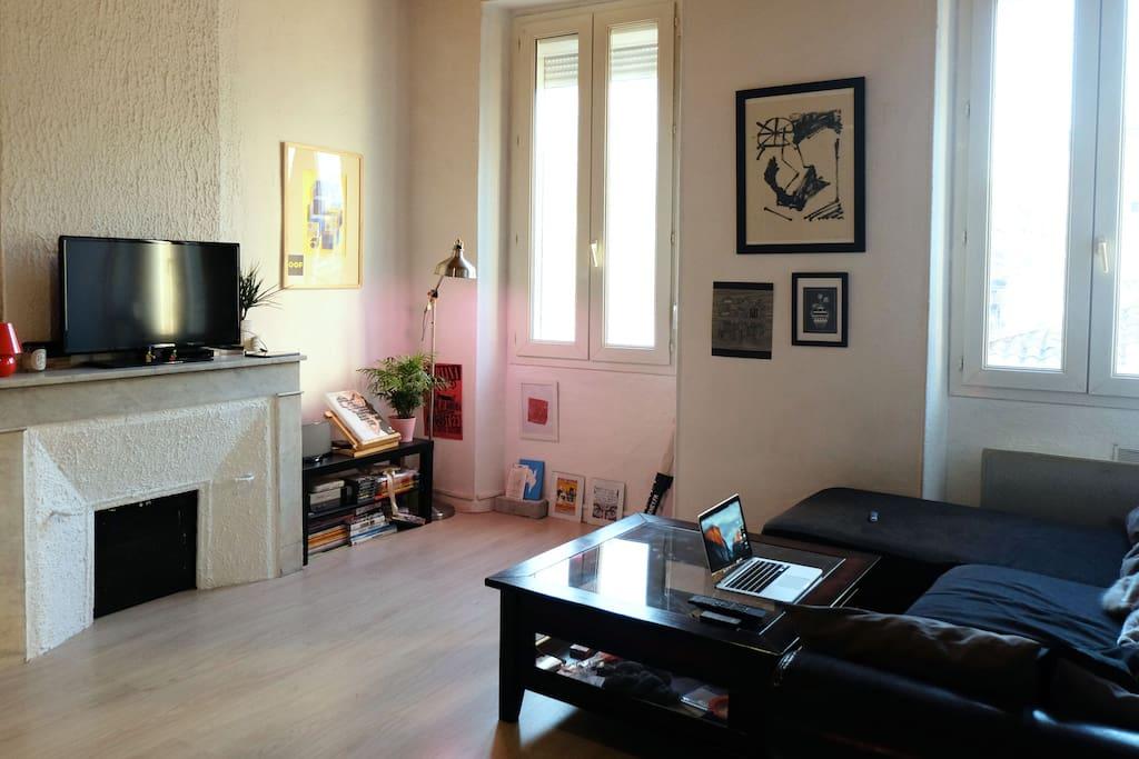 Grand salon avec canapé et télévision