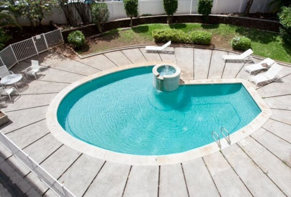 Okay, it's not quite an Olympic pool, but it's your pool, classic, cool, and close by for a little dip or some sunning.