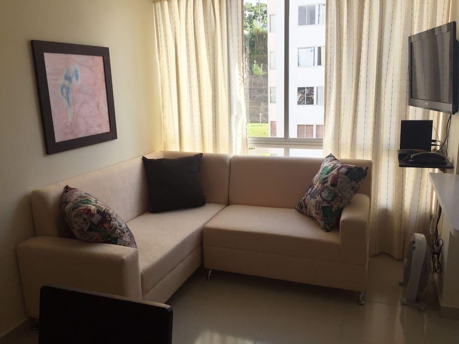 Área Común: Sala en L con Cojines. Televisión por Suscripción, Internet Wifi y Teléfono Fijo.