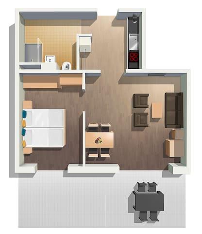 Exklusives, möbliertes 2 Zimmer Apartment.8