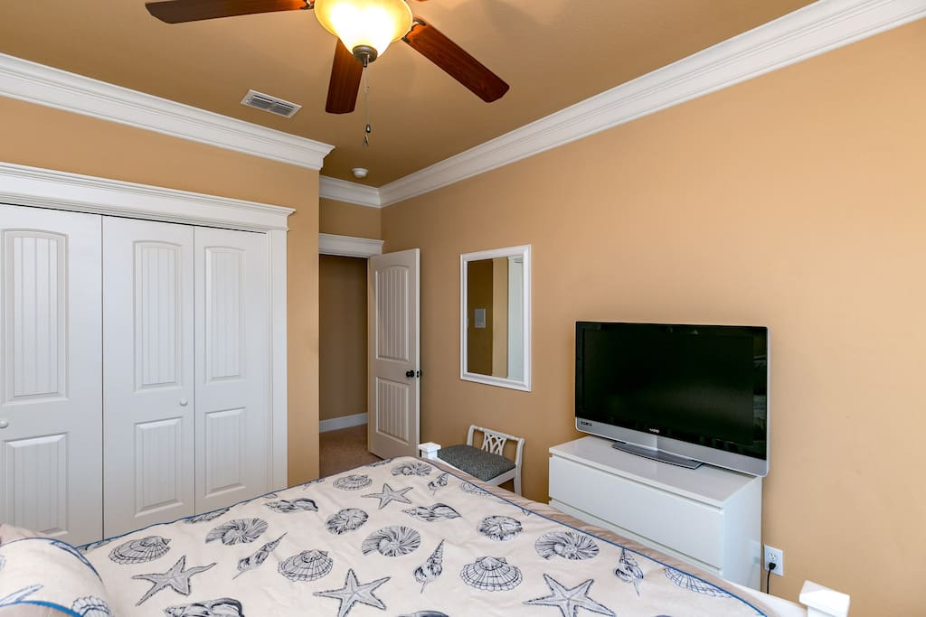 """A 42"""" flat screen TV for comfortable late night viewing in the 2nd bedroom."""
