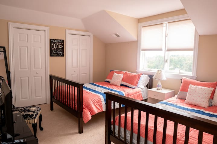 Bedroom 3 has 2 Double beds and is connected to a jack and Jill bath
