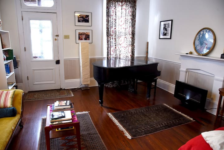Front bedroom/sitting room with piano (my grandmother's 1924 Steinway Baby Grand).