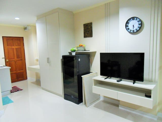 FRIDGE AND TV LIVING ROOM