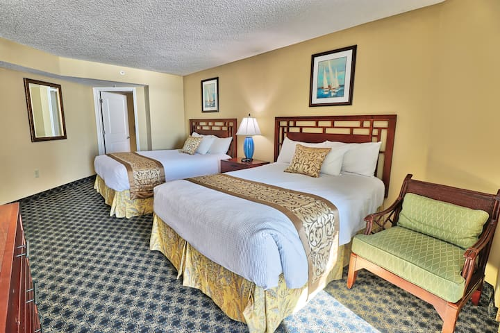 Guest Bedroom with 2 queen beds and private full bathroom and oceanfront Balcony