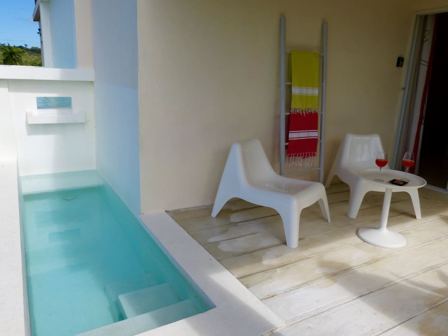 With its built-in benches, the plunge pool allows two persons to sip a glass of juice or wine face to face...