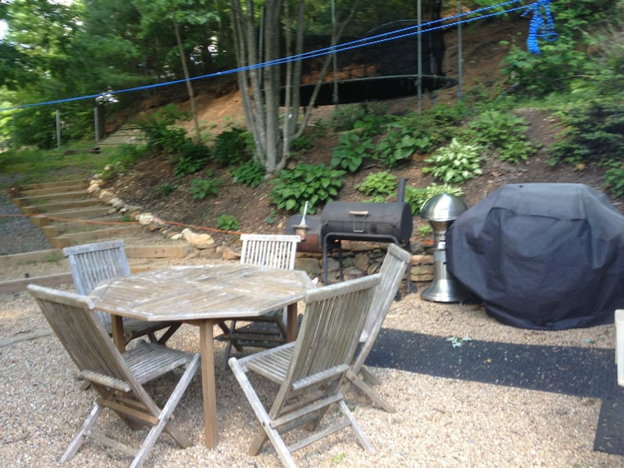 Beautiful outdoor BBQ area, fire ring, and trampoline