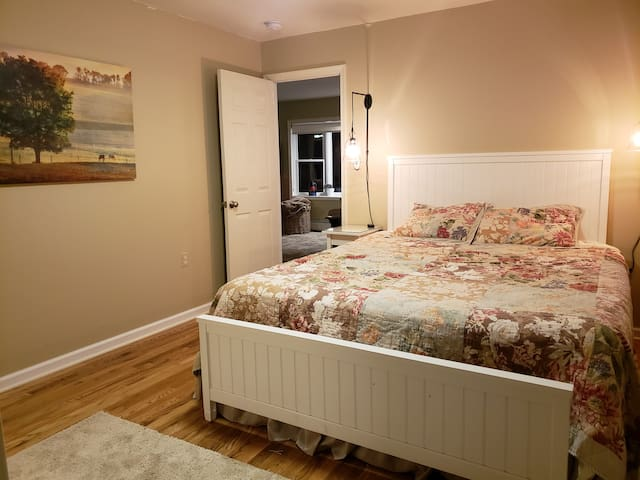 Super comfy and spacious California King bed. We have extra pillow, and blankets in the closet for you