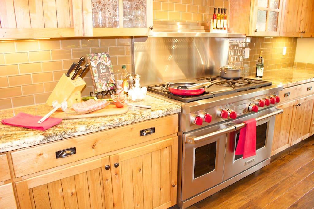 """WOLF"" GAS 6 burner cook top, 2 ovens"