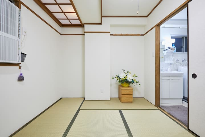 This is a Japanese style room and it turns into bedroom at night.