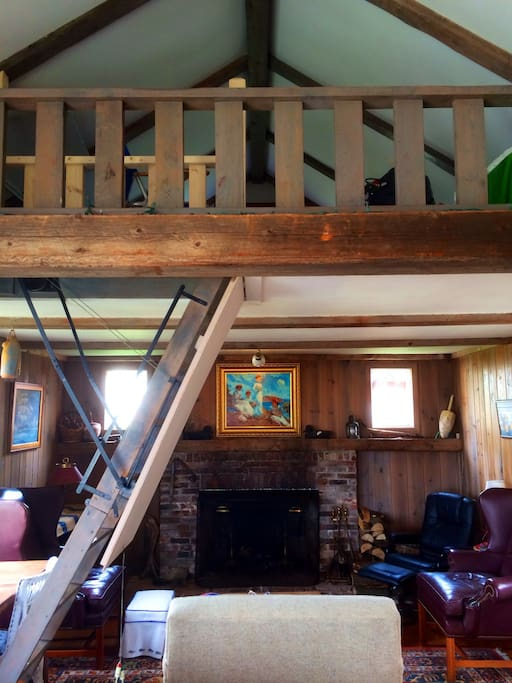 Pull down stairs access a spacious loft that sleeps 4