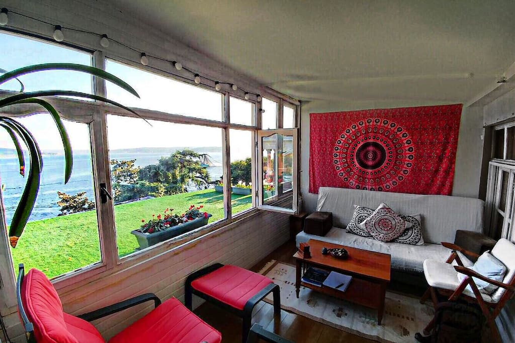living room with a terrace