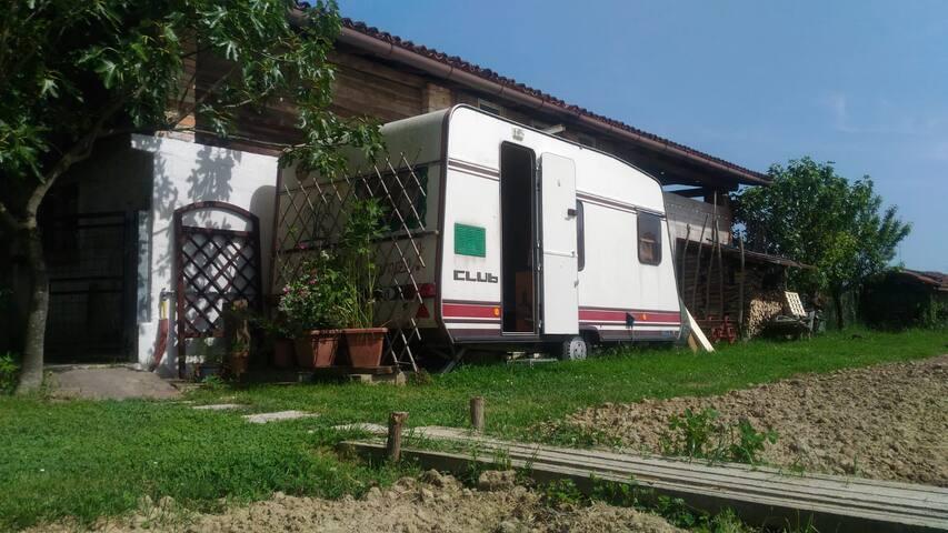 Caravan in garden, near Venice