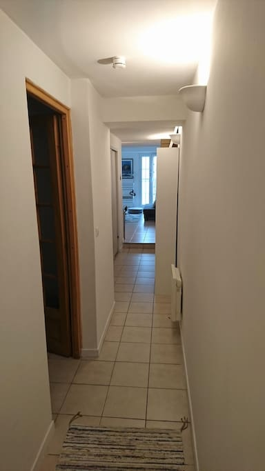 Couloir donnant sur la chambre, les WC et salle de bain, la cuisine américaine et le séjour