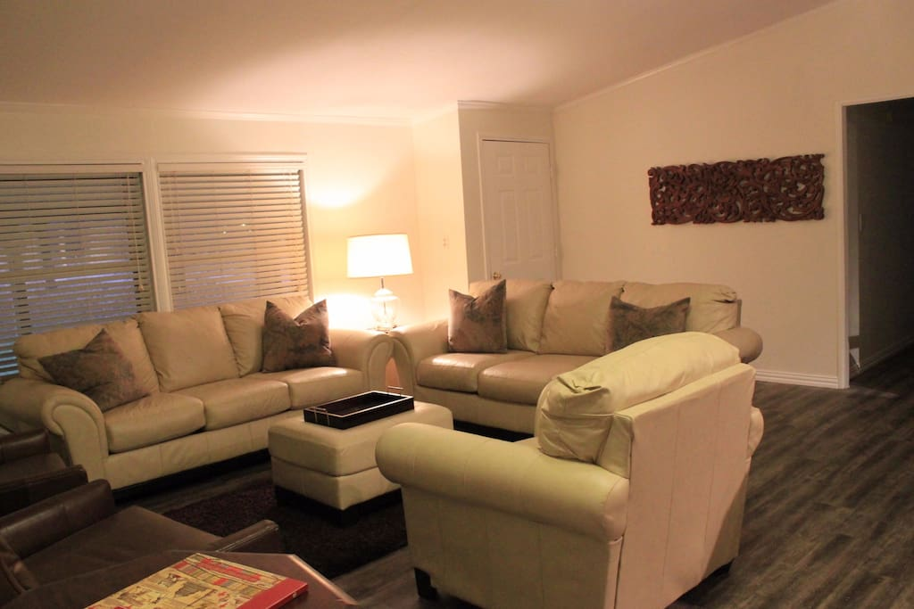 Living room with leather seating