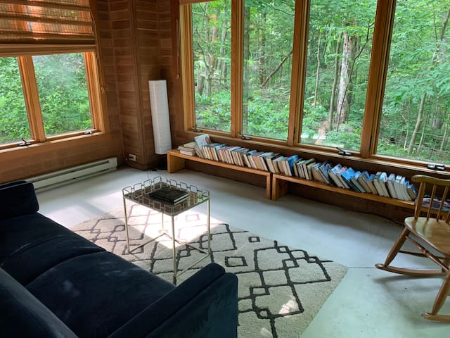 The sun/reading room with a futon.