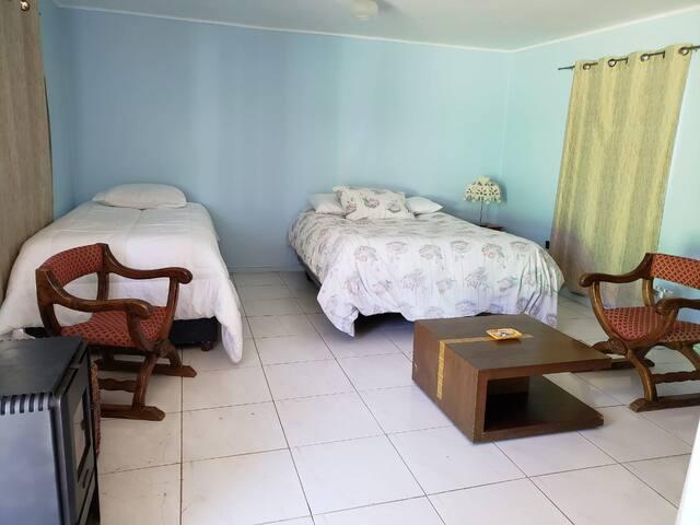 Cuenta con una cama queen (derecha) y una cama de 2 plazas, nido (izquierda)