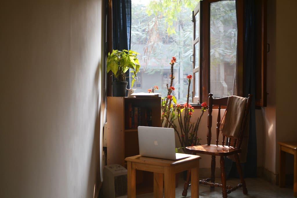 Reading corner in the living room.